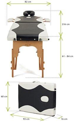 Łóżko do masażu 2 segmentowe dwukolorowe czarno - białe