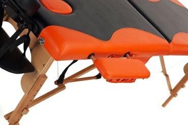 Łóżko do masażu 2 segmentowe dwukolorowe czarno - pomarańczowe