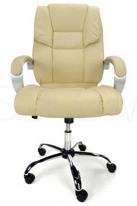 Skórzany Fotel Biurowy KOMFORT Beżowy