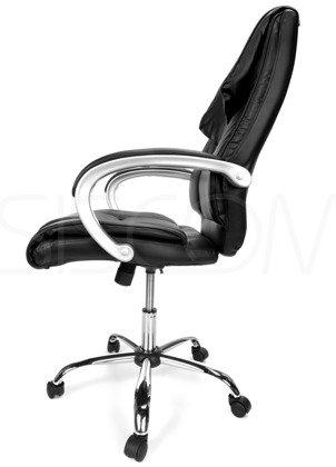 Skórzany Fotel Biurowy KOMFORT Czarny