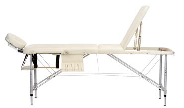 Stół, łóżko do masażu 3 segmentowe aluminiowe beżowe