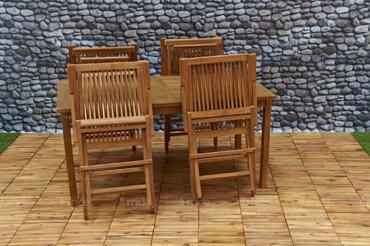 Zestaw mebli ogrodowych z drewna TEAKOWEGO: Stół + 4 Krzesła