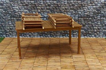 Zestaw mebli ogrodowych z drewna TEAKOWEGO: Stół + 6 Krzeseł